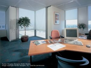 Commercial Hunter Douglas Roller Shades in the Office